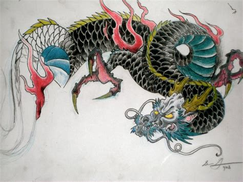 colorful japanese dragon tattoo design tattoomagz