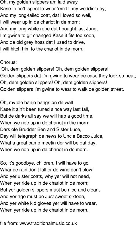 song golden slippers oh them golden slippers lyrics 28 images song golden