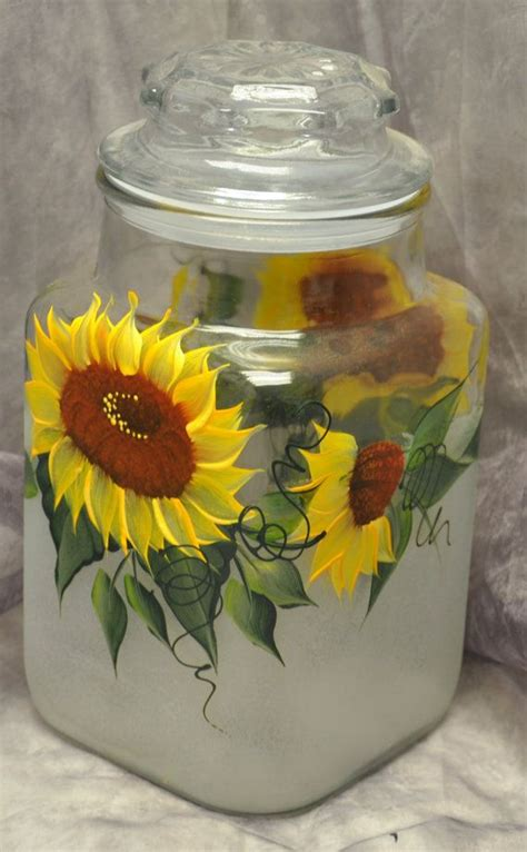 sunflower canisters for kitchen hand painted sunflowers kitchen canister by