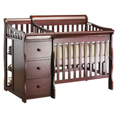 Hardwood Wood Brown Crib Changing Table Drawers