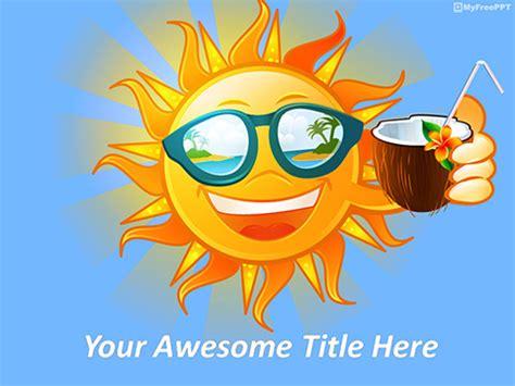 Free Sun Powerpoint Templates Myfreeppt Com Summer Template Powerpoint