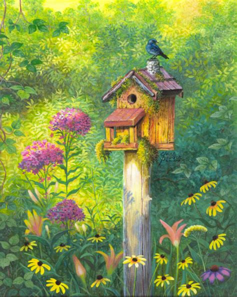 bird house and bluebird elaine bawden