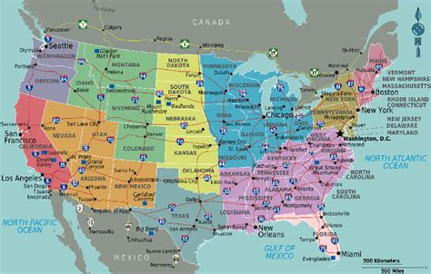 map of us states with major cities map student guide usa