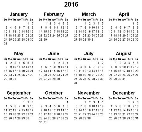 2016 Calendar Year Printable Yearly Calendar 2016 171 Printable Hub