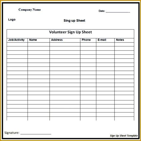 4 weekly sign up sheet template fabtemplatez