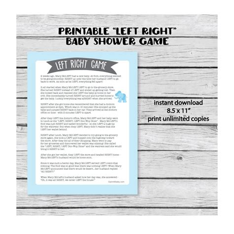 The Left Right Baby Shower by Printable Left Right Baby Shower Blue Elephant Jungle
