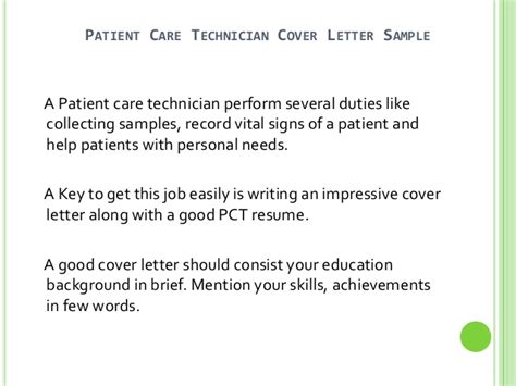 patient care cover letter patient care technician cover letter no experience