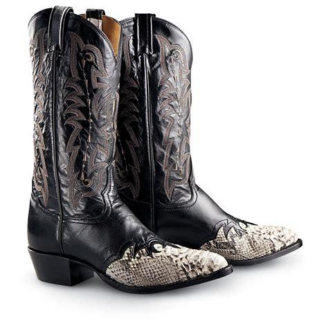 mens python boots s tony lama 174 python saddle western boots black