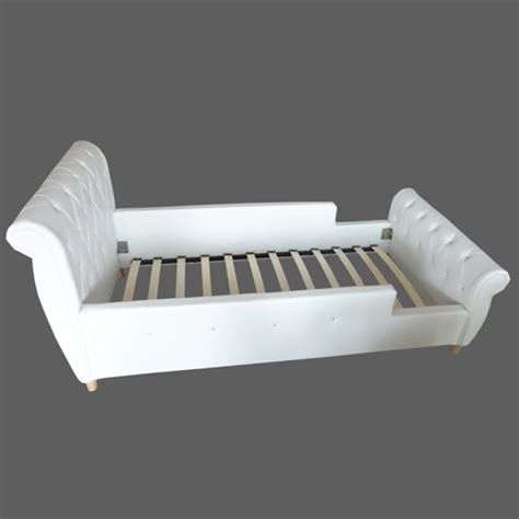 kid s single pu leather princess bed frame in white buy