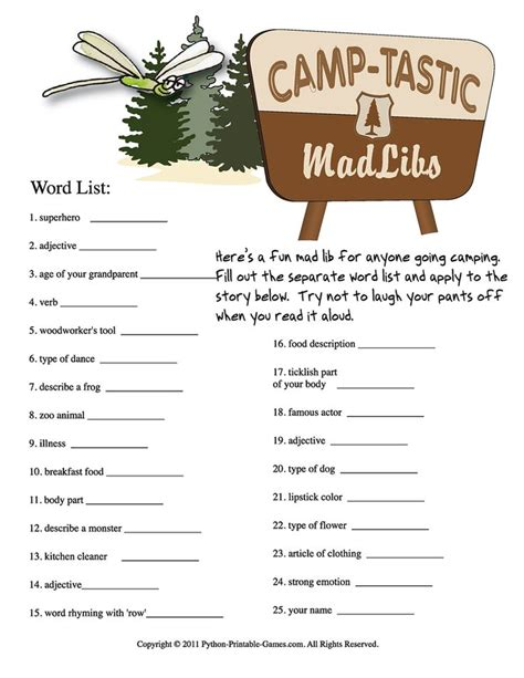 printable mad libs 8 best images of cing mad libs printable free