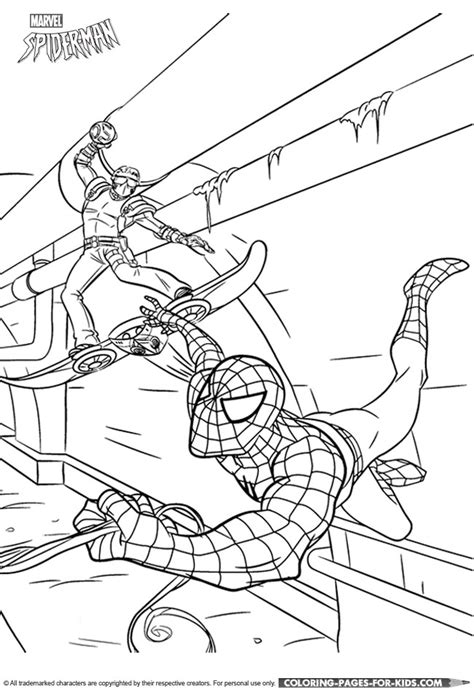 spider man coloring book page spider man with a villain