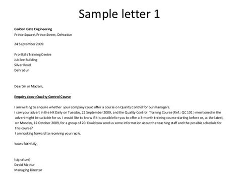 Inquiry Letter Sles Business Writing Enquiry Letters