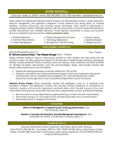 Resume Sles For Qa Analyst Exle Software Quality Analyst Resume Sle