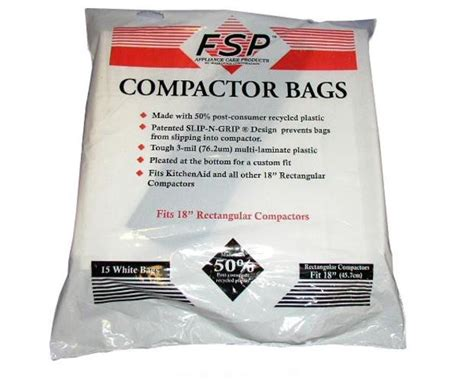 trash compactor bags whirlpool trash compactor 18 inch plastic bags 15 bags