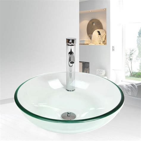 Clear Glass Vessel Sink by Bathroom Tempered Clear Glass Vessel Sink Bowl Chrome W