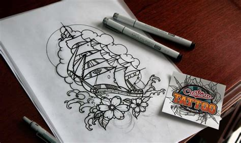 traditional pirate ship tattoo neo traditional pirate ship sketch custom