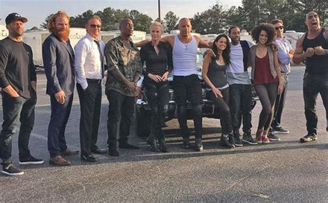 fast and furious 8 actors vin diesel shares photo of fast furious 8 cast on set