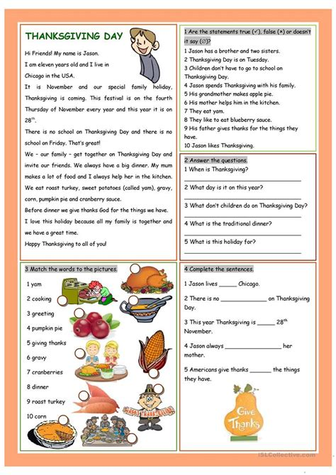 thanksgiving day worksheet free esl printable worksheets