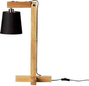 Wooden table lamp with black shade table and bedside lamps