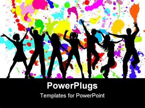 powerpoint template silhouettes of dancing party goers