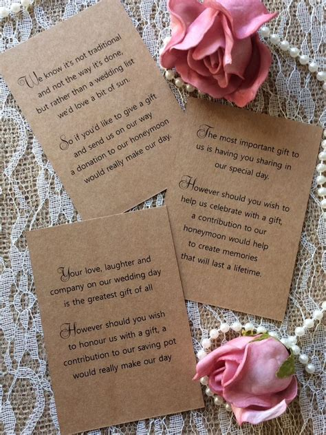 Wedding Gift Of Money by 25 50 Wedding Gift Money Poem Small Cards Asking For
