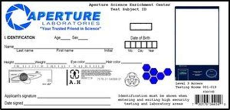 aperture science id card template aperture science id card by sincityfan on deviantart