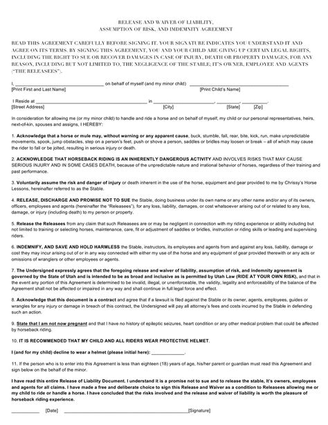 equine release form release and waiver of liability form south utah