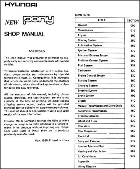 service manual free repair manual 1993 hyundai scoupe service manual pdf automotive repair 1986 hyundai pony repair shop manual original