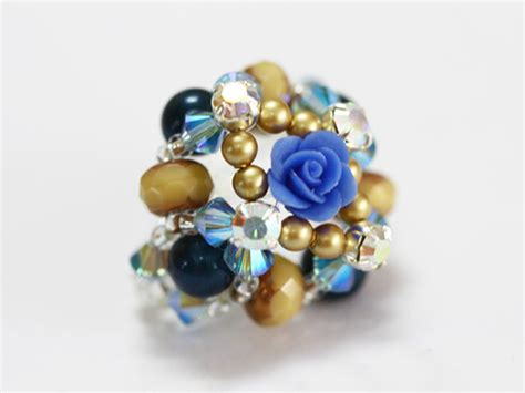 Anting Rhinestone Color Floral Ring how to make bead rings a floral ring nbeads