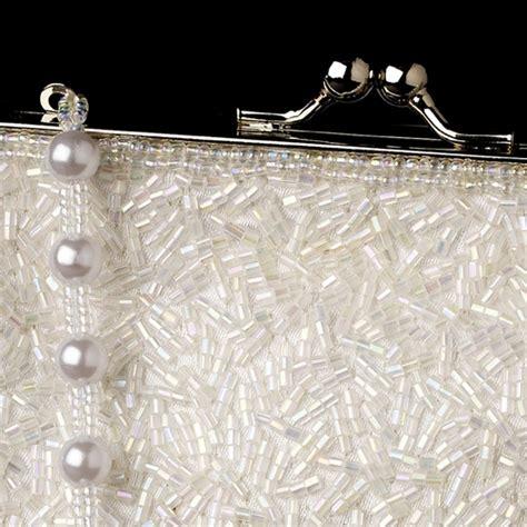 New Arrival Bna Bag Top Handle 2268 glistening white beaded satin evening bag 2022