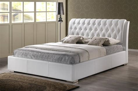 tufted bed modern white faux leather queen or king size platform bed