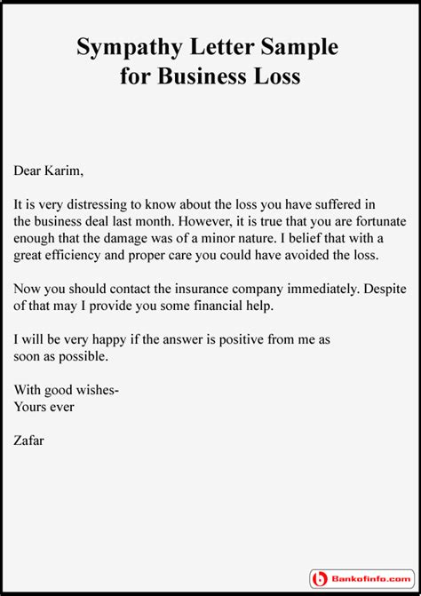exle of condolence letter business letter template