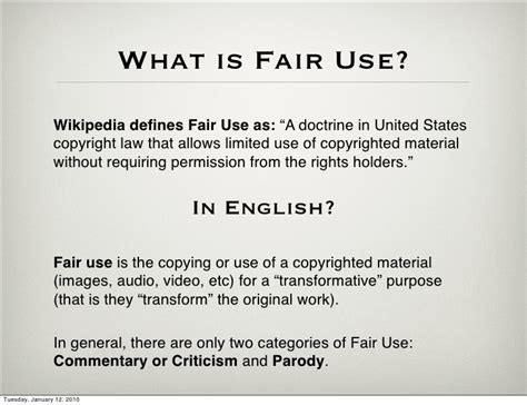 exle of fair use fair use a guideline for those in doubt