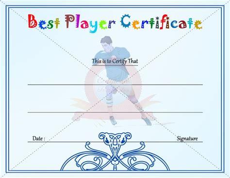 best player certificate template kids certificate