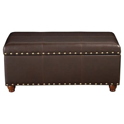 brown leather storage bench homepop faux leather storage bench with gold nai target