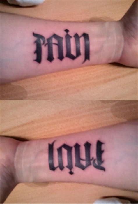 love and pain tattoo designs ambigram designs pictures to pin on