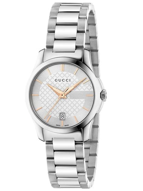 Gucci YA126523 Rose Gold & Silver Dial Ladies Watch