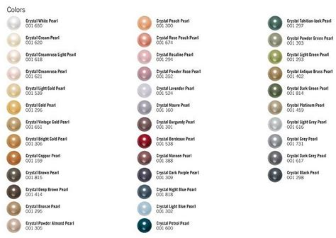 pearl colors swarovski pearl color chart bead color charts