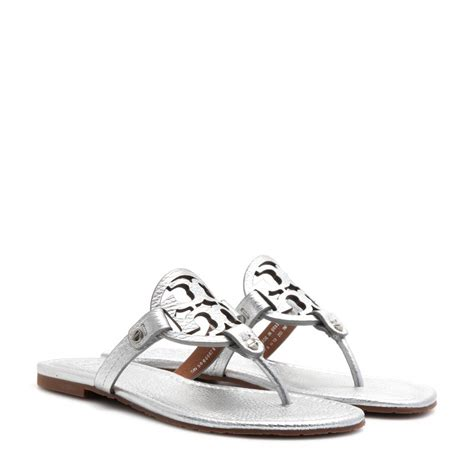 burch sandal lyst burch miller leather sandals in metallic