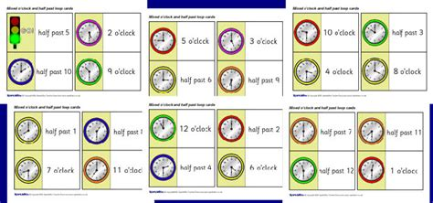 Half Com Gift Card - mixed o clock and half past loop cards sb1935 sparklebox
