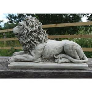 statues for home decor lion statue on plinth cast stone garden ornament patio