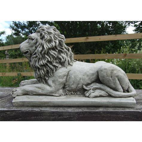 sculpture home decor lion statue on plinth cast stone garden ornament patio