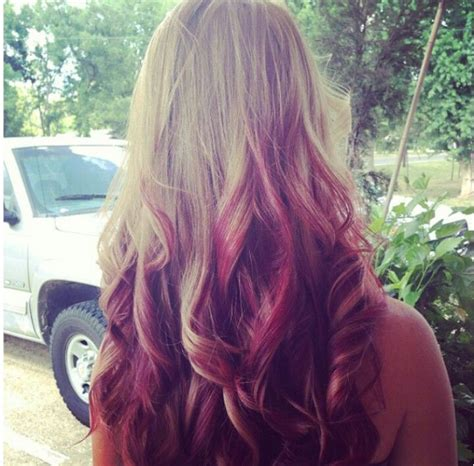 Ombre With Red And Blonde | blonde and red reverse ombre hair makeup nails oh my