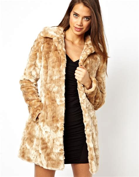 Faux Fur by Lipsy Belted Faux Fur Coat In Beige Lyst
