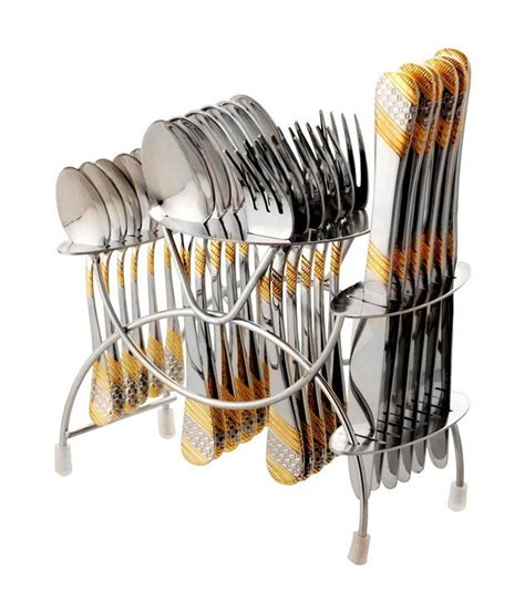 cutlery set with stand fns imperio 24 piece gold plated cutlery set with stand