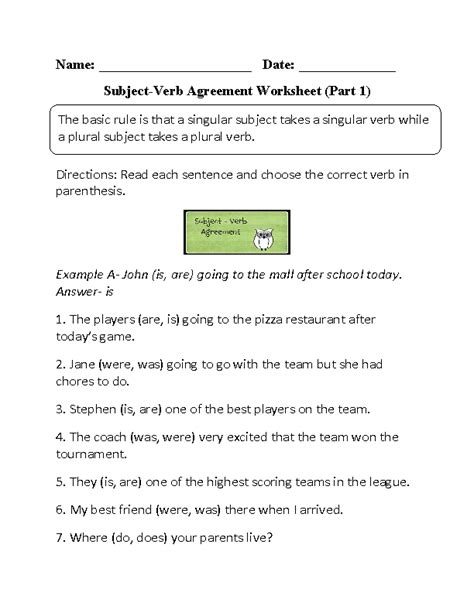 Subject Verb Agreement Worksheets by Nouns Verbs Adjectives Worksheet 2nd Grade Verbs