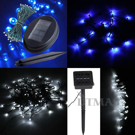 blue white ledsolar power string fairy light christmas