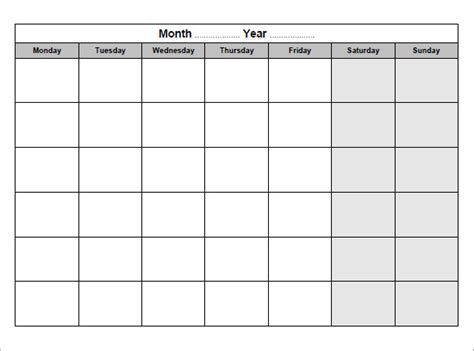 Blank Monthly Calendar Pdf Formatted Blank Calendar Pdfs Print Blank Calendars