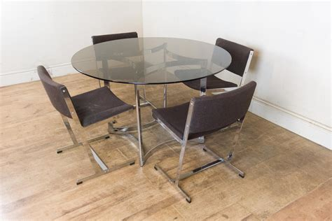 Smoked Glass Dining Table And Chairs Vintage Retro Merrow Associates Smoked Glass Dining Table And 4 Chairs