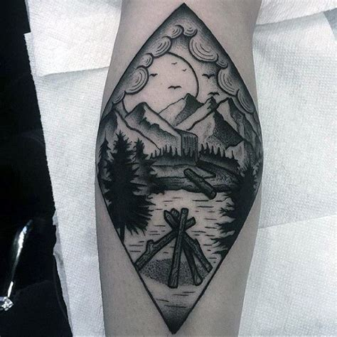 forest scene tattoo simple black work waterfall landscape for forearm